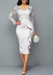 $enCountryForm.capitalKeyWord UK - 2019 Elegant Lace Mother of the Bride Dress Custom Made V Neck Long Sleeve Fashion Evening Dress Mother Formal Wear for Wedding