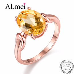Rose Gold Cluster Engagement Rings Australia - Almei Natural Oval Yellow Citrine 925 Sterling Silver Jewelry Rose Gold Color Wedding Anniversary Ring Women with Box 40% FJ076