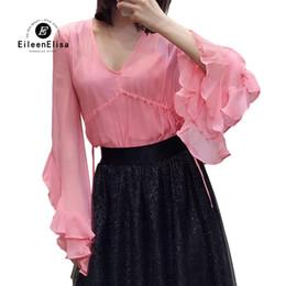 00a7bf8f5ac06b 2019 Fashion Womens V Neck Elegant Tops Ruffles Flare Sleeve Blouse Spring Silk  Shirt For Ladies