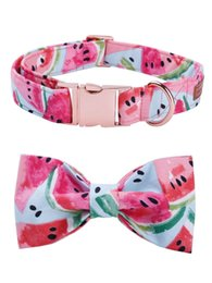 cartoon pink rose NZ - Watermelon Pink Cotton Fabric Dog Collar and Leash Set with Bow Tie for Big and Small Dog Rose Gold Metal Buckle Pet Accessories Y200515