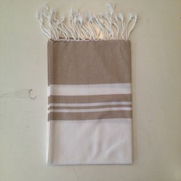Small White Towels Australia - LALAY SMALL TOWEL for KITCHEN HAND DISH LINEN&COTTON 50x100cm WHITE with BEIGE STRIPES ,w.FRINGES
