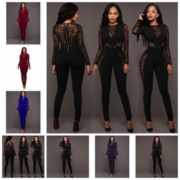 pants support sexy Canada - 2019 Europe United States fashion color sexy lace round neck long sleeve perspective thin conjoined pants,Support mixed batch