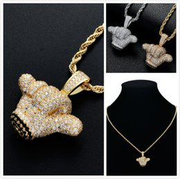 $enCountryForm.capitalKeyWord Australia - Luxury Designer Gold Diamond Mens Iced Out 3D Cute Victory Hand Chain Necklace Blingbling Cubic Zirconia Street Rapper Jewelry Gift for Boys
