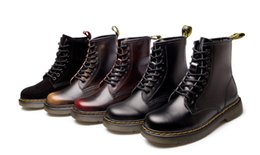 Ladies brown Lace up boots online shopping - 2019 Autumn Winter New Coarse heeled Low heeled British Martin Boots Lady Genuine Leather Cylinder Female Couple Movable Fashion Shoes
