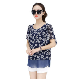 $enCountryForm.capitalKeyWord NZ - 2018 Summer Blouse New Korean Top Women Print Chiffon Shirts Plus Size 4xlo-neck Bat Sleeve Camisa Blusa Feminina Ropa Mujer Y19062501