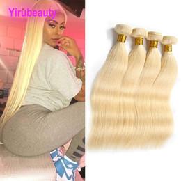 Blonde human hair extensions wefts online shopping - Brazilian Virgin Hair Bundles Unprocessed Human Hair Extensions inch Blonde Color Straight Body Wave Hair Wefts