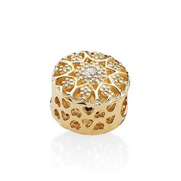 44da70764 Luxury 14K Gold Plated Beads Clear CZ Fit European Pandora Jewelry Fashion  Heart-shaped Snake Bracelet DIY Sterling Silver Charms with Box