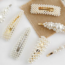 nice girl hair accessories 2019 - 2019 New Fashion Women Pearl Hair Clip Snap Hair Barrette Stick Hairpin Hair Styling Accessories For Women Girl Jewelry