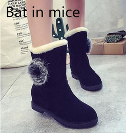 Flattest Mouse Australia - Bat in mice 2017 In the winter the boot of women plus cashmere increased cute tie with two snow boots warm flat cotton shoes