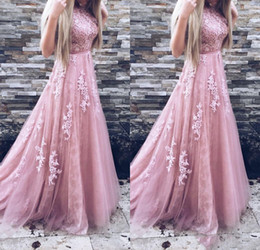 Blush Pink Belt Australia - 2019 Long Prom Dresses A Line Appliques Lace Sleeveless With Belt Blush Pink Formal Evening Gowns Prom Dress Party dress