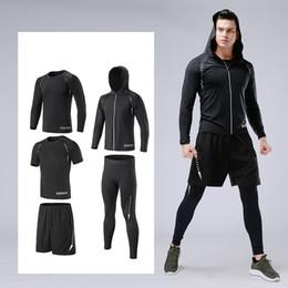 $enCountryForm.capitalKeyWord NZ - Top Basketball Sport Suit 5PCS Men Running Sets Quick Dry Compression Set Sportswear Gym Fitness Training Suit Jogging Tracksuit