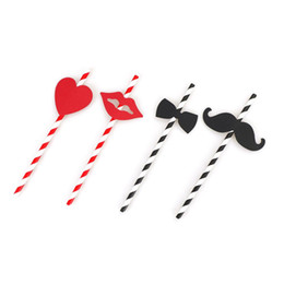 Drinking straw cartoon online shopping - 10Pcs Lovely Drinking Straw Beard Lip Paper Straw Black Red Striped Heart Bow Sticker for Wedding Party Festive Supplies Decor