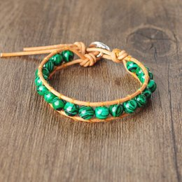 Malachite Bracelets Australia - 8mm Malachite Beads Wrap Leather Bracelets for Women Men Strand Stone Charm Bracelet & Bangle Handmade Boho Party Jewelry Gift