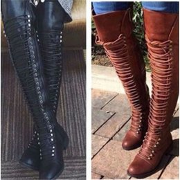 $enCountryForm.capitalKeyWord NZ - XingDeng Ladies Sexy Bandage Riding Flat Heels Western Boots European Over The Knee Long Lace Up Long Motorcycle Boots Shoes