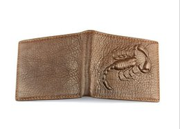$enCountryForm.capitalKeyWord Australia - Genuine Leather Men Wallets Fashion Scorpion Pattern Design 2 Folds Credit Card Holder Purse Wallet Free Shipping