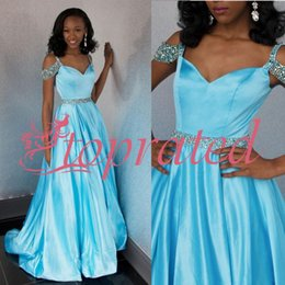 juniors floor length dresses Australia - 2020 Elegant Satin Floor Length Evening Gowns Sexy Light Blue Junior Prom Dresses A-Line Sweetheart Beaded Cap Sleeve Party Dress