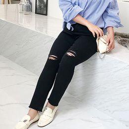$enCountryForm.capitalKeyWord NZ - New fashion big size dress ripped jeans new Korean brand thin stretch high waist wash 9cent jeans 707