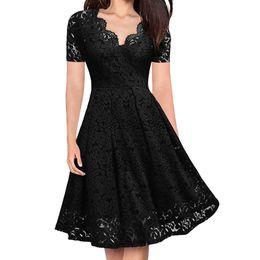 $enCountryForm.capitalKeyWord Australia - Women Summer Party Dress Elegant Lace Dress Short Sleeve Women Clothing Black Tunic Sundress Party Vestidos Sukienka