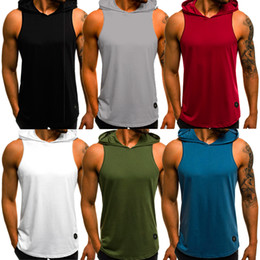 Wholesale t shirts hoodie for sale – custom Mens Gym Singlet Bodybuilding Hoodie Tank Top Vest Sleeveless Fitness T shirt