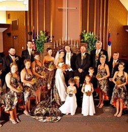 $enCountryForm.capitalKeyWord Australia - 2019 Camo Bridesmaid Dresses Hi Lo A Line Halter Camo and Orange Short Country Bridesmaid Gowns Lace Up Closure Custom made Bridesmaid Gowns