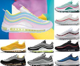 Man Classic Shoes Australia - Rainbow Women Men 97s Running shoes Shoes white black Classic Designer shoes Metallic Gold Silver Bullet Mens trainers sports sneaker o01