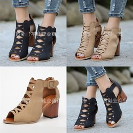 HigH Heeled sHoes for ladies online shopping - Summer Sandals For Lady Hollowing Out Coarse High Heeled Shoes Beige Black Buckle Band Rome Peep Toe Shoe zj D1