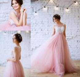 Wedding Dress Sleeveless Lace Top NZ - Spring Colorful Garden Wedding Dresses A Line New 2019 Top White Lace Pink Tulle Skirt Sleeveless Illusion Cheap Country Beach Bridal Gowns