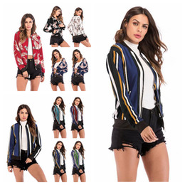 wholesale floral sweatshirt Canada - Floral Striped Baseball Suit 14 Styles Women Patchwork Jackets Long Sleeve Zipper Cardigan Sweatshirt Coat Sports Wear clothing O-OA6428