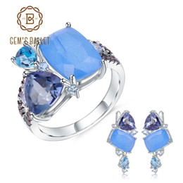 casual necklaces for women 2019 - GEM'S BALLET Natural Aqua-blue Calcedony Geometric Casual Jewelry 925 Sterling Silver Ring Earrings Jewelry Set For