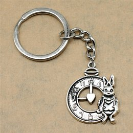 Silver Antiques Australia - 1 Piece Keyring Car Rabbit And Clock Wedding Gifts For Guests Epacket Dropshipping 31x25mm Pendant Antique Silver