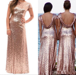 $enCountryForm.capitalKeyWord Australia - 2018 Shiny Rose Gold Sequins Bridesmaid Dresses With Short Sleeves Backless Floor Length Prom Gown Wedding Party Dress