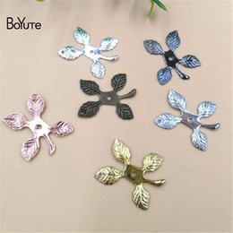 leaf charms Australia - BoYuTe (100 Pieces Lot) 21*18MM Metal Brass Stamping Leaf Pendant with Hole Floating Charms for Jewelry Making