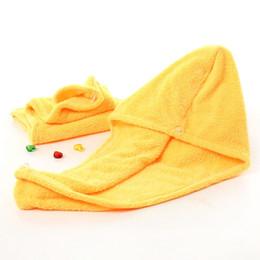 Venta al por mayor de Gorros de ducha para la magia de secado rápido de la microfibra de pelo secado con la toalla turbante Wrap gorra de Spa Baño Caps cabello con una toalla 26 * 65cm LJJA3818