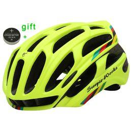 Green Bike Light Australia - Cycling Helmet Road Mountain In-mold Bicycle Helmet Ultralight Bike Helmet With Led Warning Lights Casco Ciclismo