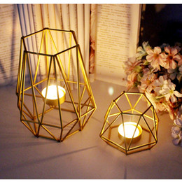 $enCountryForm.capitalKeyWord Australia - Free Shipping Nordic Golden Iron Candlestick Wedding Projects Home Decoration Bedroom Living Room Decoration Metal Candle Holder Crafts