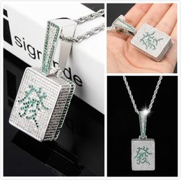 $enCountryForm.capitalKeyWord Australia - Luxury Designer White Gold Plated Blingbling Green Diamond Mahjong Fa Mens Pendant Necklace Iced Out Cubic Zirconia Rapper Jewelry For Men