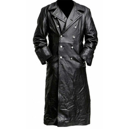 Wholesale mens leather sleeve trench coat for sale - Group buy Mens New Style Medieval Vintage Leather Trench Coats Pure Long Leather Jacket Trench Coat Male Clothing Streetwear Windbreaker