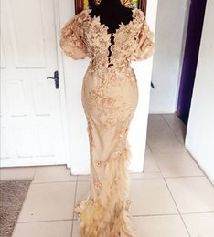 $enCountryForm.capitalKeyWord UK - Aso Ebi 2019 Arabic Gold Sexy Vintage Evening Dresses Lace Beaded Mermaid Prom Dresses Feather Formal Party Bridesmaid Pageant Gowns ZJ234