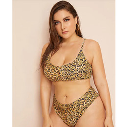 dea4f4f7ed 2019 New Women's Bikini Big Size Fat Bikinis Leopard pattern High Waist  Bikinis Summer Swimming Bikinis swimsuit for woman