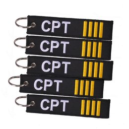 China Captain Key Chain Jewelry Safety Tag Embroidery CPT Key Ring Chain for Aviation Gifts Luggage Tag Label suppliers