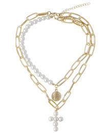 $enCountryForm.capitalKeyWord Australia - 2019 Newest Fashion Women Coin Jewelry Imitation Pearl Cross Pendant Necklace 2piece set Pearl Necklace Coin Pendant Necklaces