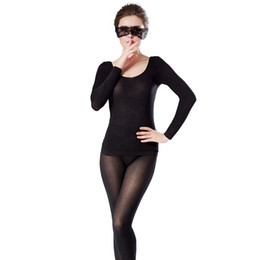 thin thermal underwear UK - New Women Thermal Underwear Ultra Thin and light Good Elasticity Shaped Underwear Set Sexy Long Johns
