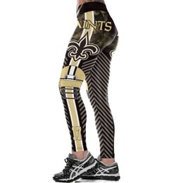 women s elastic leggings NZ - New Orleans S-Team Fitness Leggings Fiber Elastic Hiphop Party Cheerleader Rooter Workout Pants Logo Trousers Dropshipping Y200113