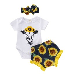 baby ruffle floral romper NZ - Summer Baby Boys Cartoon Outfits Fashion Kids Floral Casual Clothes Sets cow Romper Sunflower Ruffle Shorts + Bow Headband 3pcs Suits Y2250