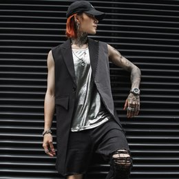 Suit Outerwear Male Australia - New Men Fashion Casual Suit Vest Coat Streetwear Punk Hip Hop Male Sleeveless Waistcoat Jacket Outerwear