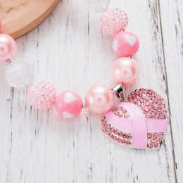 cancer awareness gifts wholesale Australia - Beads Necklace Pink Ribbon Fighting Boxing Gloves Breast Cancer Awareness Pendant Charm Pink Rhinestones Chunky Necklace Children Jewelry