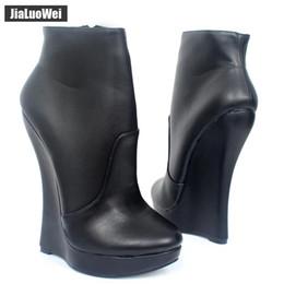 5df4b77fb32e Fetish Stallion Hoof Sole Women Wedges Ankle Boots With Zip BDSM Platform  Runway Rock Star Night Club Shoes Goth Punk High Heel Boot
