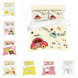 $enCountryForm.capitalKeyWord Australia - Cartoon Cars and Cute Animals Design Bedding Set 2PC 3PC Duvet Cover Set Of Quilt Cover & Pillowcase Twin Full Queen King Size
