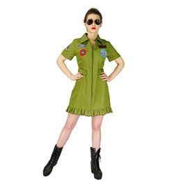 movie guns Australia - Women's Top Gun Costumes Halloween Army Fancy Dress Costumes Halloween America pilot Party Slim Costume Fit Green Jumpsuit