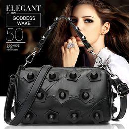 $enCountryForm.capitalKeyWord Australia - Fashion leather shoulder bag delicate riveted ladies hand bags can be put key hand cream lipsticks perfume